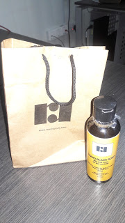 black soap and bag